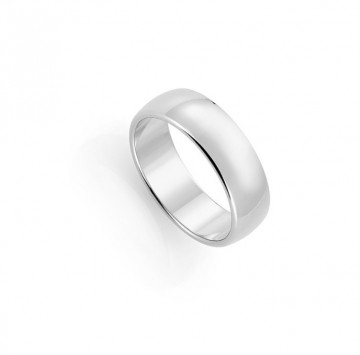 1289807 7 MM HVITT GULL RING - HVELVET / FLAT