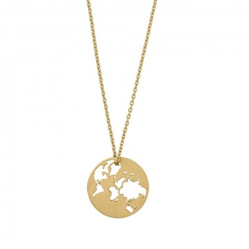 3-1680-GP BEAUTIFUL WORLD NECKLACE - KJEDELENGDE:80 CM -  DIAMETER:22 MM